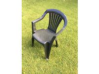 Green Plastic Garden Chairs x 4