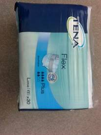Tena flex incontinence pads size large pack of 30 6 packs in total 180 pads in total