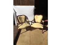 GOLD BROCADE WALNUT WOOD PARLOUR ARMCHAIRS