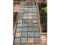 Reclaimed Victorian antique '3 hump' blue clay garden edging tiles