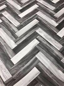 Parquet Effect Vinyl Flooring 2.5mm thick only £6 psqm, 3m wide roll