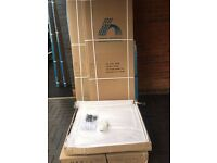 Shower tray with side panel, BI-FOLD-doors and waste, New, Boxed, Full set