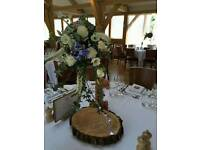 Rustic, wooden, unique, shabby chic, vintage wedding table centre pieces/decorations
