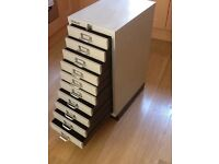 Bisley lockable 10 draw filing cabinet with 2 keys.