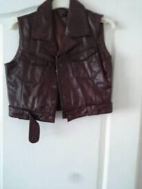 Real leather waistcoat dark tan