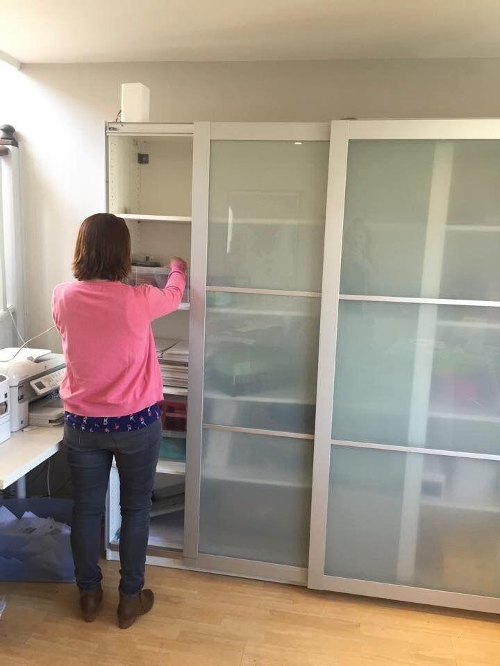 White Ikea Pax Shallow Wardbrobe Sekken Frosted Glass Doors L200x H200 Xd43