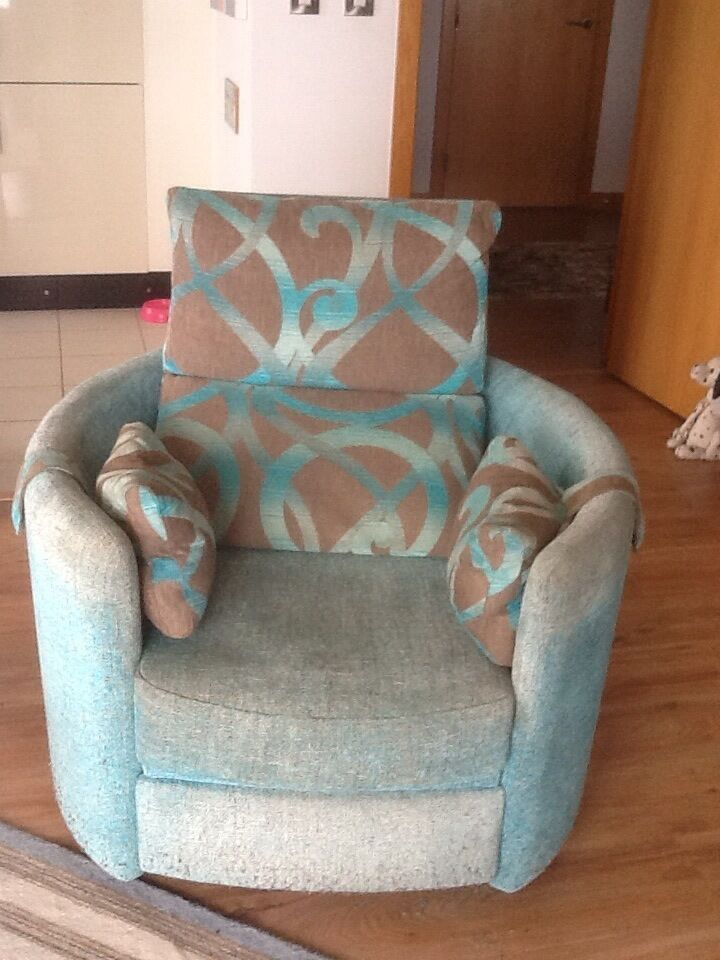 Fama Reclining Tub Chair Designer Recliner In Brown And Turquoise Fabric