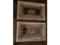 Two Waterford Crystal Lismore Sandwich/Vanity Tray