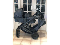 EXDISPLAY HAUCK DUETT 3 TANDEM DOUBLE PRAM PUSHCHAIR FROM BIRTH WITH CARRCOT CHARCOAL GREY