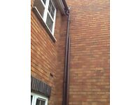 New, never used. One 5 meter length of 68mm brown downpipe.