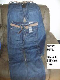 Boys/ Mens jeans bnwt 28 waist 30 leg £7.50 a pair denim and co