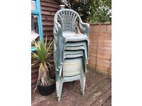 16 plastic garden chairs
