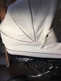 VIB white leather Pram with cosy toes, buggy and car seat attachment. Excellent condition.