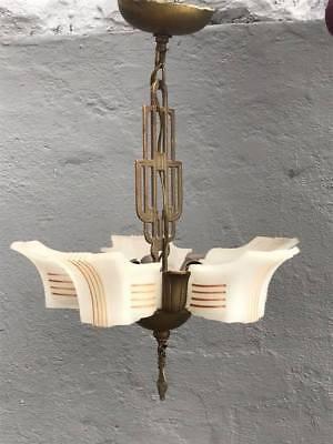 Art Deco Slip Shade Chandelier