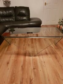 SOLID CLEAR 12MM THICK GLASS MULTI PURPOSE TABLE OR CAN BE TV UNIT