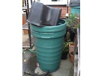 2 x dark green water butts with stands