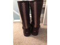 genuine ugg leather braided boots