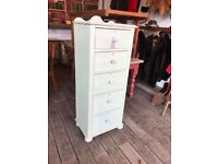 Shabby Chic Painted Pine Tallboy / Chest