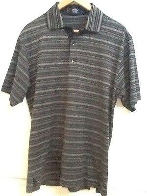 (Mens Callaway Golf 100% Fine Cotton Black Gray Stripe Short Sleeve Polo Shirt M)