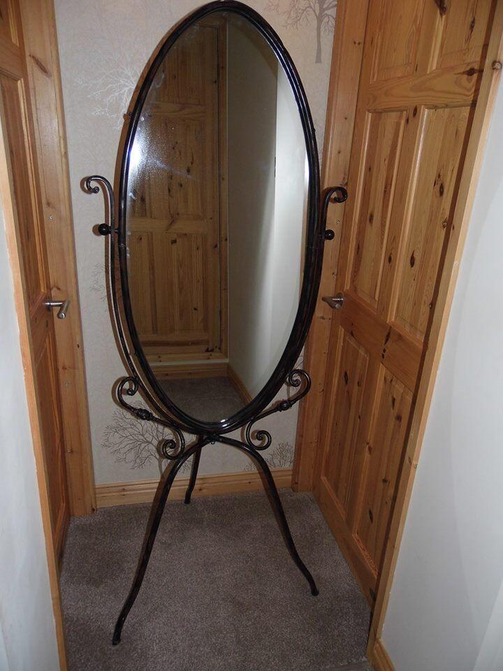 Lovely Rustic Floor Standing Mirror In Black Metal