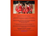 Queens Netball Club Trials 2017-18
