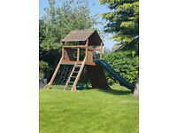 Out door climbing frame, activity center with slide and rock wall