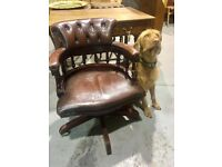 Brown Chesterfield Captains Chair