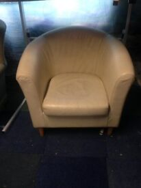 used faux cream leather tub chair