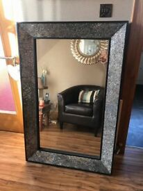 Large Black and Silver Crystal Mirror