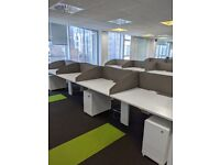 FREE SAME-DAY DELIVERY - 4, 6, 8 Seater White Office Bench Desks Complete With Screens