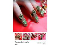 Gorgeous nine gold diamond ,decorated nails