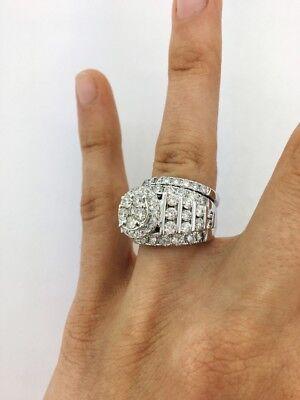 - Diamond Bridal Set Ladies Engagement Ring Wedding Band 14K  White Gold Over 3 Ct
