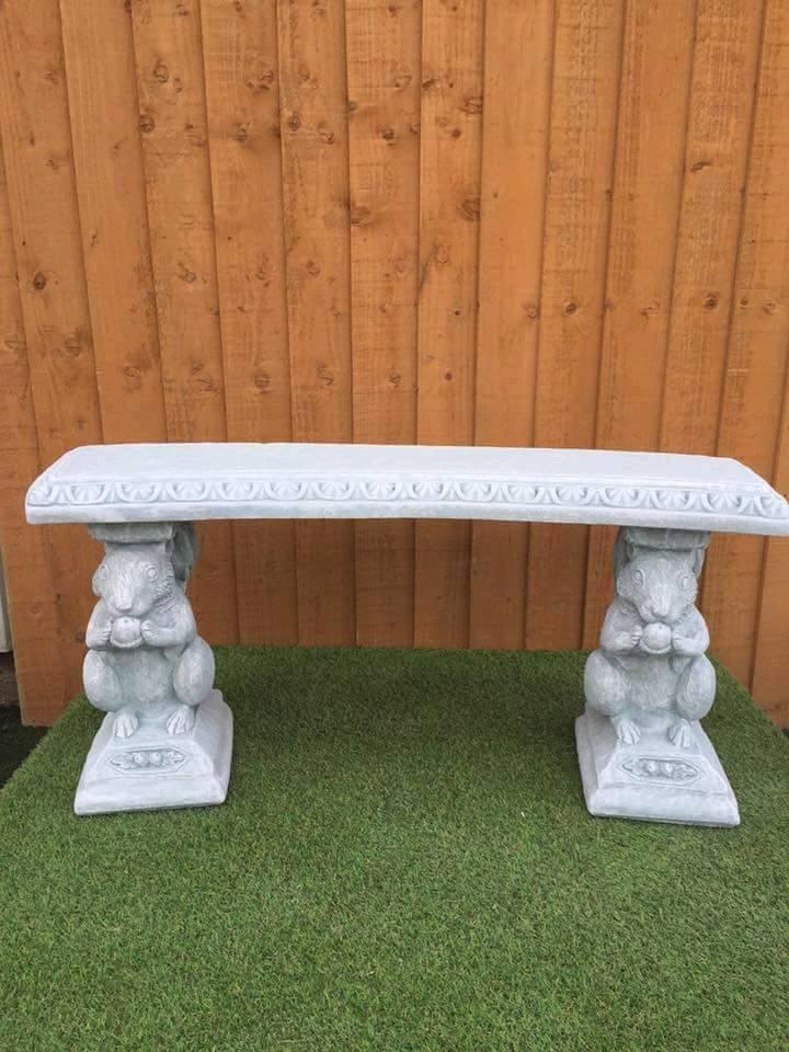 Garden benches made from concrete