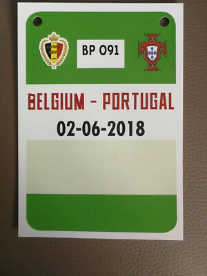 Accréditation Card/Ticket : Belgique - Portugal 02-06-2018 Amical World Cup 2018