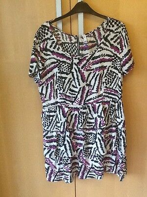 H! By Henry House Of Holland Retro 80s Print Tiered Frill Ruffle Dress 18