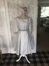 Stunning Silver/Grey pearl beaded dress & headpiece fascinator