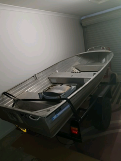 13' tinny boat, motor & trailer