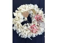 Shabby Chic Cream Rag Wreath with Pink Detailing