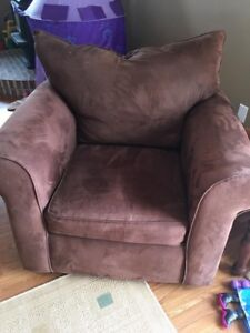 Brown microsuede couch + chair set