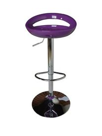 Ex display Gas Lift Purple and Chrome Bar Stool