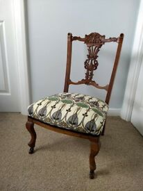 Antique Victorian Occasional / Nursing Chair - newly reupholstered