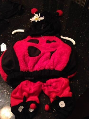 Baby Ladybug Costume Baby Girl 12-24 Months Plush Halloween Costume + Slippers