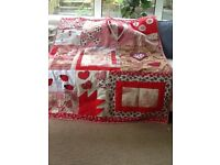 Handmade patchwork quilt/throw in red