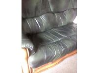 leather settee, 3 piece suite genuine leather solid oak and drawer underneath vg c