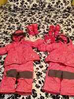 Two Souris Mini Girl's Snowsuits with Boots and Hats