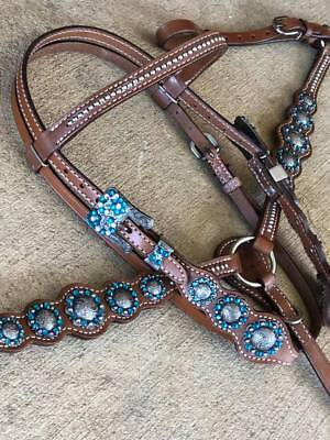 Western Horse size PONY Heavy Black Nylon Tack Set w// Bling Pink OR Teal