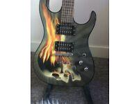 *BRAND NEW* Washburn electric guitar (skull, flames unique design)