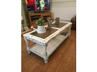 Shabby Chic Rustic Glass Panel Coffee Table