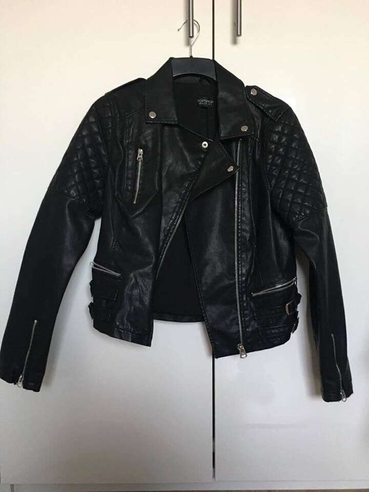 Black Leather Jacket FROM TOPSHOPin Pontypool, TorfaenGumtree - Orginally from Topshop Black leather jacket with silver zip accent Never worn Size 12 Bought for £75 Selling for £45