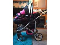 Largo pink and black pram/ pushchair with car seat large shopping basket underneath